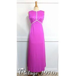 Vintage 1970s Formal Maxi Dress Fuchsia Small